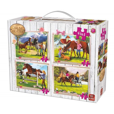 King-Puzzle-05255 4 Puzzles - Girls & Horses