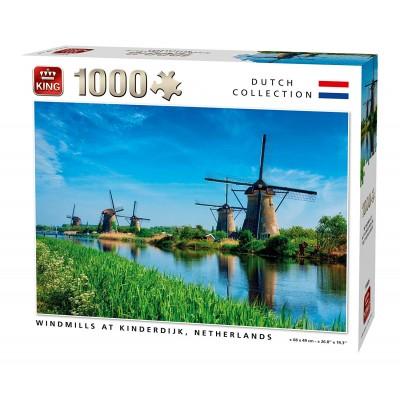 Puzzle King-Puzzle-55885 Windmills Kinderdijk Netherlands