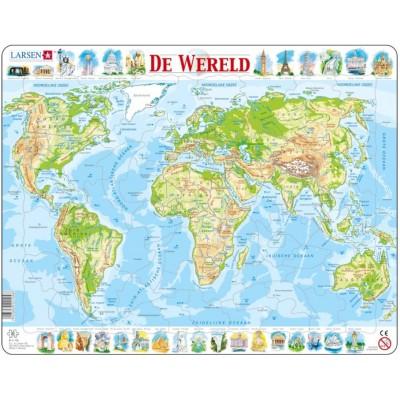 Larsen-K4-NL Rahmenpuzzle - De Wereld (Holländisch)