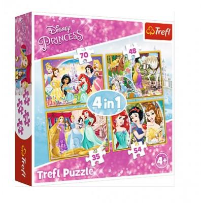 Puzzle Trefl-34309 4 in 1 - Happy Day of Princesses