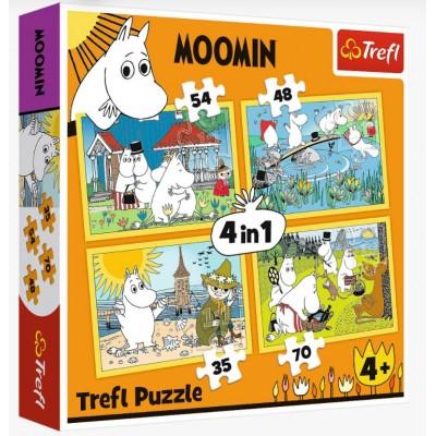 Puzzle Trefl-34368 4 in 1 - Moomin happy day