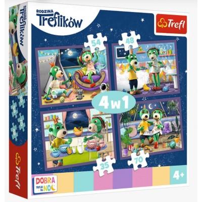 Puzzle Trefl-34370 4 in 1 - Evening Trefliks rituals - Good night