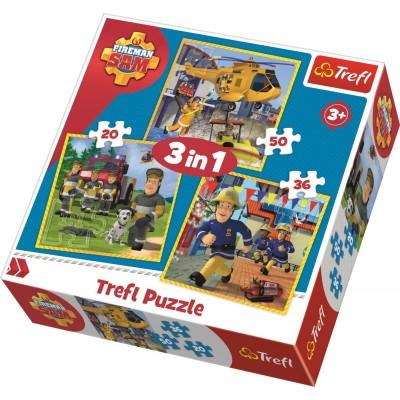 Puzzle Trefl-34844 3 in 1 - Fireman Sam in action